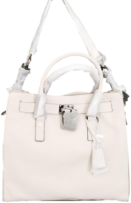 Item - Hamilton Large (New with Tags) Lock and Key Vanilla White/Silver Leather Tote