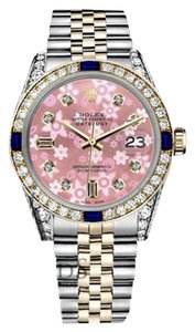 Rolex Women's Rolex 31mm Glossy Pink Flower Dial Sapphire & Diamond