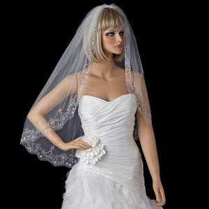 Elegance By Carbonneau White Beaded Fingertip Embroidery Wedding Veil