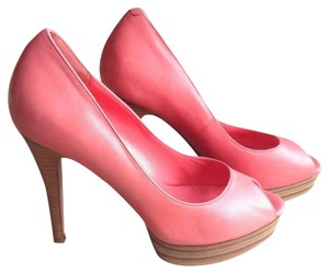 Cole Haan Patent Leather Peep Toe Coral pink Pumps