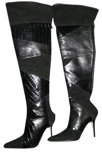 Manolo Blahnik Over-knee Alligator Suede Black Alligator/Suede Boots