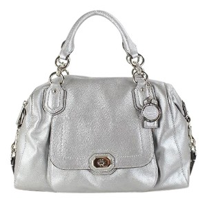 Coach Silver Leather New Rare Satchel in Platinum