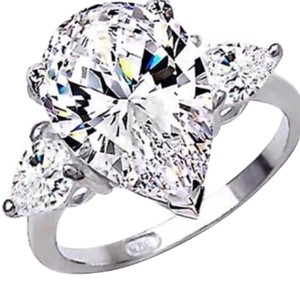 Ladies 925 4ct PEAR SHAPED AAA CZ Engagement Ring