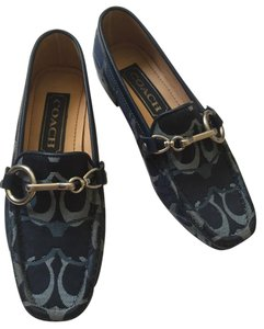 Coach Fabric Loafer Moccasin Blue Flats