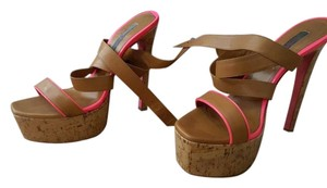 Ruthie Davis Leather Platform Honey/Bubblegum Sandals