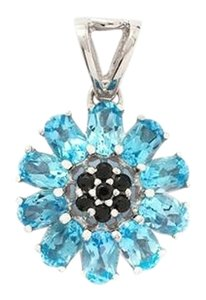 Swiss Blue Topaz and Black Spinel Sterling Silver pendant