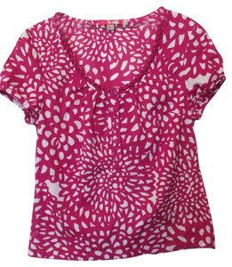 Boden Henley Cotton Button Front Top Fuchsia and white