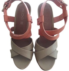 ALDO Coral and tan Wedges
