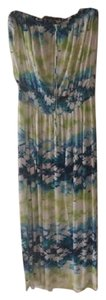 White, Blue, & Green Maxi Dress by Lane Bryant Maxi Flowy