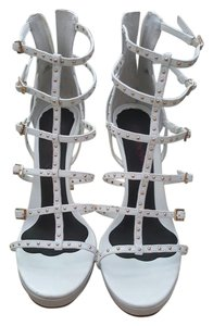 Vince Camuto Leather Studded Gold Ivory/White Sandals