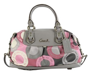 Coach Ashley Signature Multi Color Satchel in Pink Grey White
