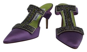 Manolo Blahnik Satin Jewelled Purple Mules