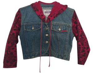 Jordache Denim Floral Girls Hoodie Womens Jean Jacket