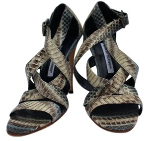Manolo Blahnik Snakeskin Bluish/Grey & White Sandals