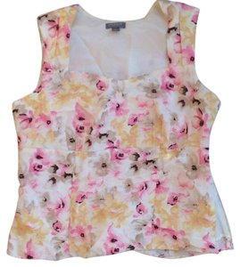Ann Taylor Peplum Floral Pink Yellow Easter Top multi