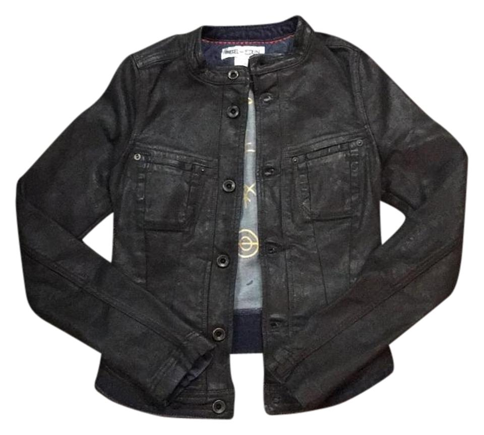 diesel black denim jacket size 00 xxs tradesy