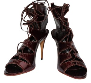 Manolo Blahnik Patent Burgundy Sandals