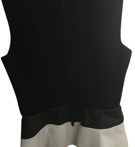 Halogen Peplum Black And White Evening Top Black-and-white