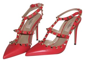 Valentino Red Textured Leather Pumps