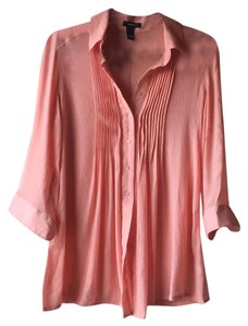 Alfani Tunic Pintuck Sheer Loose Top peach