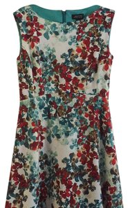 Tahari short dress Off white with blue and burgundy flowers on Tradesy