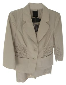 The Limited Beige Skirt Suit with Ruching and 3/4