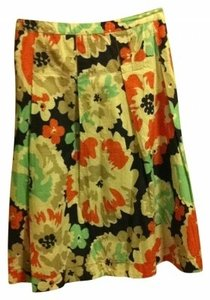 Merona Vintage Knee Length Summer Work Earthy Edgy Organic Look 14 L Large Xl Extra Large New Pleated Student Skirt multi