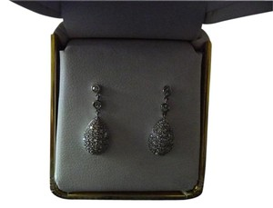 Other 14K White Gold 1CT TDW Diamond Pave Earrings