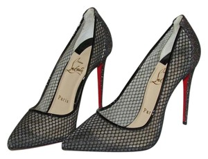Christian Louboutin Black Fishnet Glitter Pumps