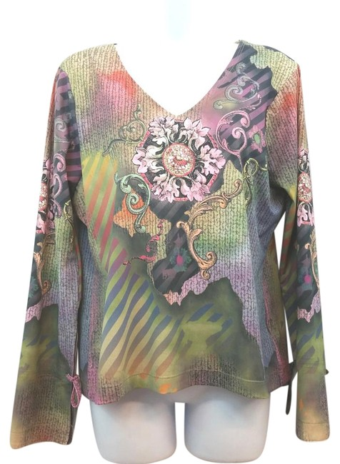 Item - XL Printed Long Sleeves Stretchy Blouse Size 16 (XL, Plus 0x)