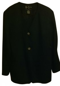 Via Seta Vintage Silk Work Evening Jacket Quality Classic Traditional Normal Beltable Longish Longsleeve 10 Medium M Med black Blazer