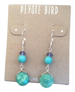 Peyote Bird Peyote Bird Sterling Silver Turquoise/Purple Dangle Earrings
