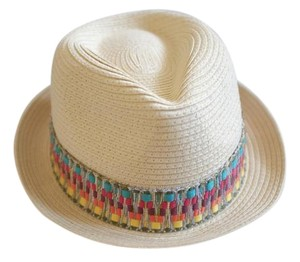 Target Straw Fedora with Multi-color Band