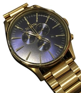 Nixon Nixon Sentry Chrono 42 mm / Gold with Blue Sunray Face