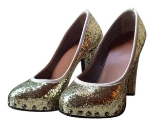 Ruco Line Project Glitter Studded Italian Gold Pumps