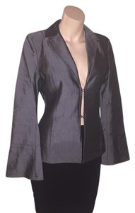 bebe Sharkskin Gray Tailored silver, charcoal Blazer
