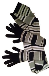 Xhilaration Striped scarf with matching gloves