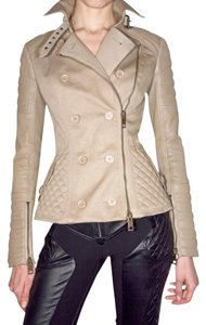 Burberry Leather Biker Sleeve Trench Coat