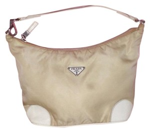 Prada Mint Vintage Chrome Hardware Satchel in khaki nylon & white leather