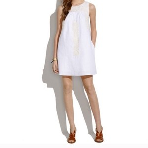 Madewell short dress White Linen Shift Shift Embroidered on Tradesy