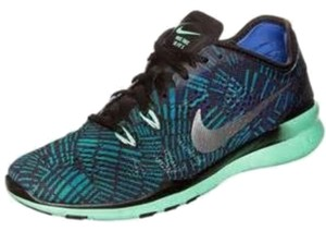 Nike Free 5.0 Training Workout Black Metallic Silver Green Athletic