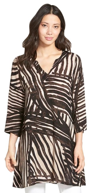 NIC+ZOE Brown Nic Stripes Beach Tunic