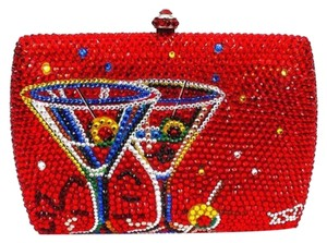 Other Evening Crystal Evening Under $200.00 Red Clutch