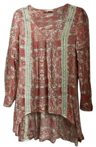 Altar'd State Embroidered Hi Lo Western Rocker Boho Top Ivory and coral