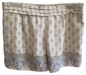 Anthropologie Patterned Pattern Mini/Short Shorts Cream and Blue
