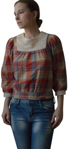 Divided by H&M Boho Peasant Top red, taupe, blue, white plaid