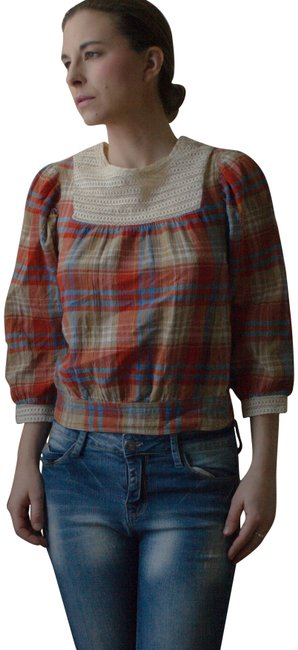 Divided by H&M Boho Peasant Cotton Crepe Crop Hippy Hippie Hipster Bohemian Spring Summer Fall Farmer Farm Girl Farmgirl Country Top red, taupe, blue, white plaid