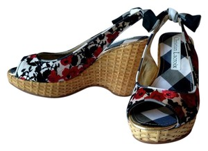 Christian Lacroix Wedge Floral Checkered Black Wedges