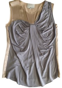 3.1 Phillip Lim Trompe L'oeil Draped Silk Top Gray
