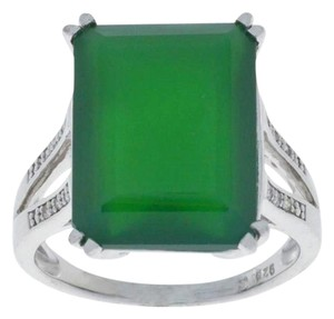 Other 10.5 Ct Green Agate & Diamond Emerald Cut Ring .925 Sterling Silver